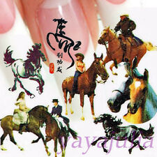 Horse Nail Art Decal Water Slide Transfer Horse Style Stickers 11 in1 W19
