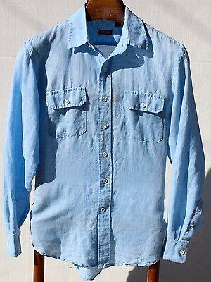 Izod Gentleman's Small (15.5 / 35) Light Blue Linen and Cotton Long-Sleeve Shirt
