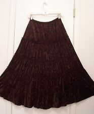 5 Tiered Dark BROWN Chocolate VELVET Hippie Peasant Western Broomstick Skirt M