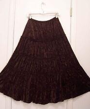 5 Tiered Dark BROWN Chocolate VELVET Hippie Peasant Western Broomstick Skirt M