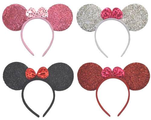 Haarreifen Mausohren Fasching Karneval Minnie Mouse Glitzer Maus Ohren Haarreif
