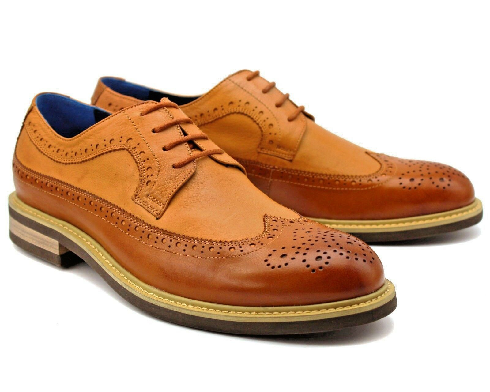 SD1 NEW MENS BROWN BROGUE SHOES LACE UP REAL LEATHER CASUAL OFFICE