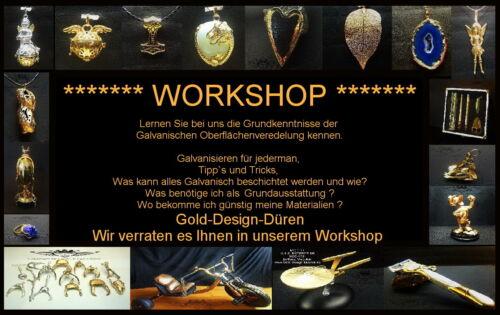 Workshop, Seminar, Vergolden, Veredelung, Galvanik, Galvanisieren, Silber, Gold,