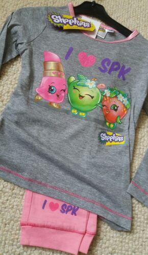 BNWT New Tags Pink Grey Shopkins Pyjamas Set Lippy Lips Apple Blossom 3 4 6 8yrs
