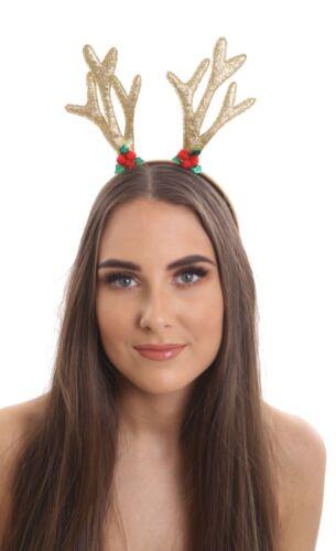 Natale glitter oro renna corna con Holly motivo Fancydress Accessorio