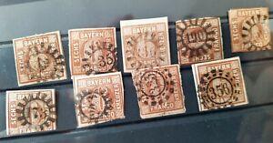 Bayern-Fuer-Platten-und-MR-Experten-9-x-6-Kreuzer-braun-Mi-Nr-4-II