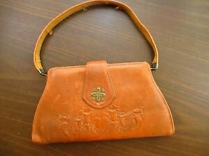 Vtg-20s-30s-Tiny-Handbag-Bag-Ornate-Clutch-Purse-Kid-Glove-Leather-Frame-Purse