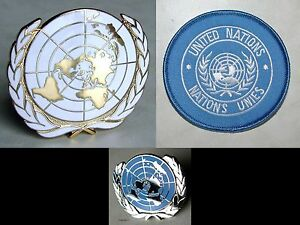 U-N-UN-United-Nations-Peacekeeping-Cap-Badge-Shoulder-Patch-Lapel-Pin-Set