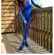 Latex Rubber Gummi Catsuit Full-body Navy blue Bodysuit Zip Suit Size XS-XXL