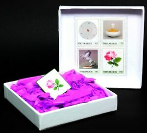 Porzellan-Briefmarke Wiener Rose in Geschenkbox, postfrisch, Österreich - Lorch, Deutschland - Porzellan-Briefmarke Wiener Rose in Geschenkbox, postfrisch, Österreich - Lorch, Deutschland