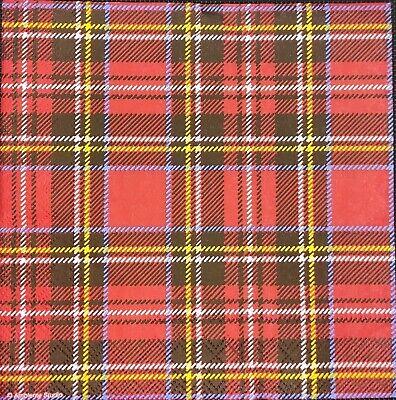 3 x Single Paper Napkins For Decoupage Tissue Red Tartan Ornaments M803