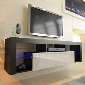 Details Zu Tv Lowboard Schrank Tisch Board 200cm Hochglanz Mit Led Beleuchtung Schwarz Weiß