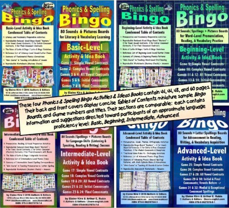 Phonics & ortografía Bingo actividades & Ideas Libros, 4 niveles de habilidad para inglés.
