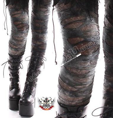Punk Zerrissen Notleidenden Gebrochenen Loch Grünspan Tie Dye Mumie Leggings