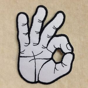 okay ok hand sign symbol embroidery iron on patch badge ebay
