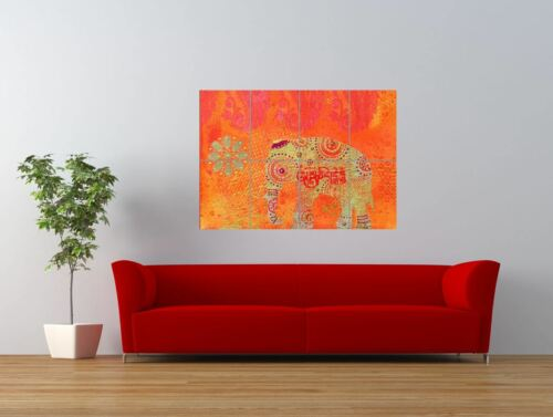 Bb Indian Collage Elephant Ornate Design Giant Wall Art Poster Print