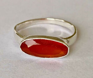 Sterling Silver Ring with Large Oval Carnelian Size 8