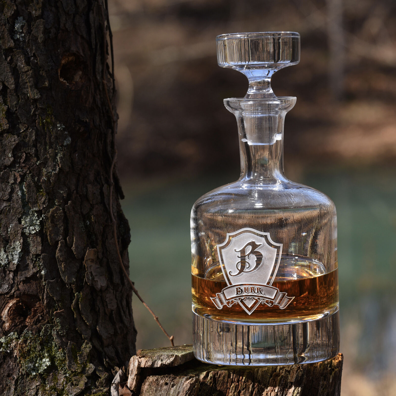 Engraved Decanter for Whiskey, Scotch, Bourbon