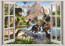 Dinosaurios Animales Ventana Pegatinas de pared efecto 3D ver Cartel Vinilo Dormitorio Niños