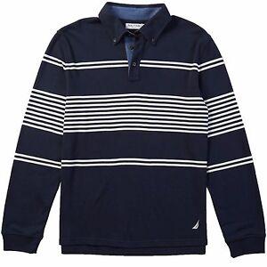 Nautica Men's Long Sleeve Striped SLIM FIT Dark Navy Polo Shirt ...