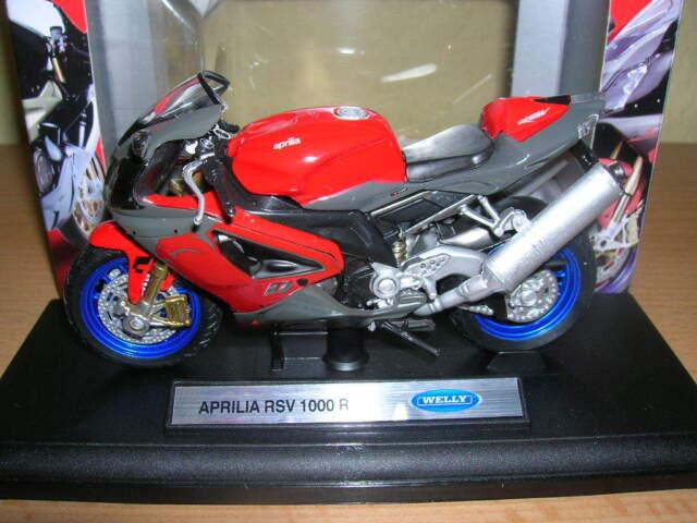 Welly Aprilia RSV 1000 R/RSV1000R Red Red Motorcycle Motorbike Moto, 1:18