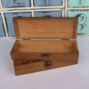 Retro Eiffel Tower Pen Pencil Case Stationery Jewelry Beads Wooden Storage Box