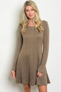 New-Love-Riche-Casual-Boho-Long-Sleeve-Western-Textured-Sweater-Dress-S-M-L