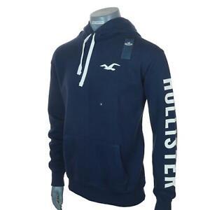 Bnwt-Men-039-s-Hollister-Logo-Hoodie-Fleece-Lined-Sweatshirt-M-L-XL-Navy-Blue-New