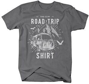 Men-039-s-Hipster-Road-Trip-T-Shirt-Mountains-Adventure-Camping-Shirt
