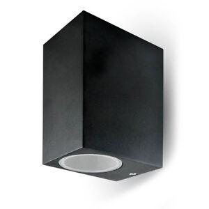 Del Outdoor Wall Light Square Up/down Complet Noir Avec 2 X Gu10 Del Lampes-afficher Le Titre D'origine