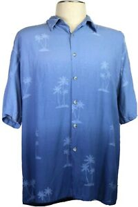 Pierre-Cardin-Men-039-s-XL-Blue-Ombre-Hawaiian-Shirt-Washable-Palms-Camp-Vacation