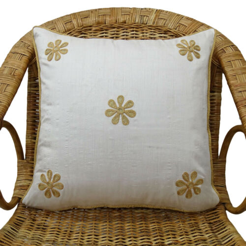 Indian Home Décor Poly Dupion Floral Embroidered Pillow Case White Cushion Cover