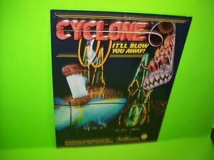 Cyclone-Pinball-Machine-FLYER-1988-Original-Roller-Coaster-Game-Artwork-Williams