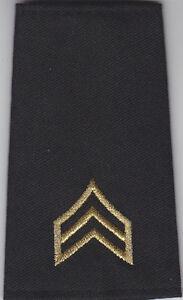 "SGT Sergeant Chevrons BLACK on OD GREEN 3/"" X 3.75/"" police//sheriff cut edge"