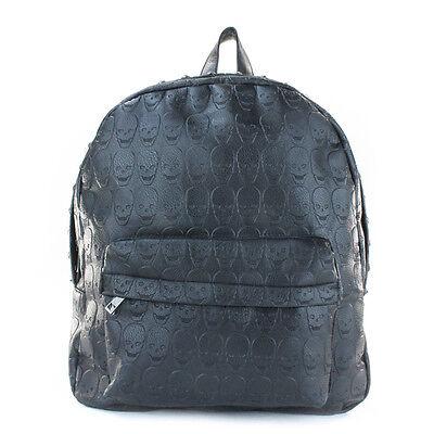 Rock Punk Skull Rivet Backpack School Shoulder Bag PU Leather Black Fashion Book