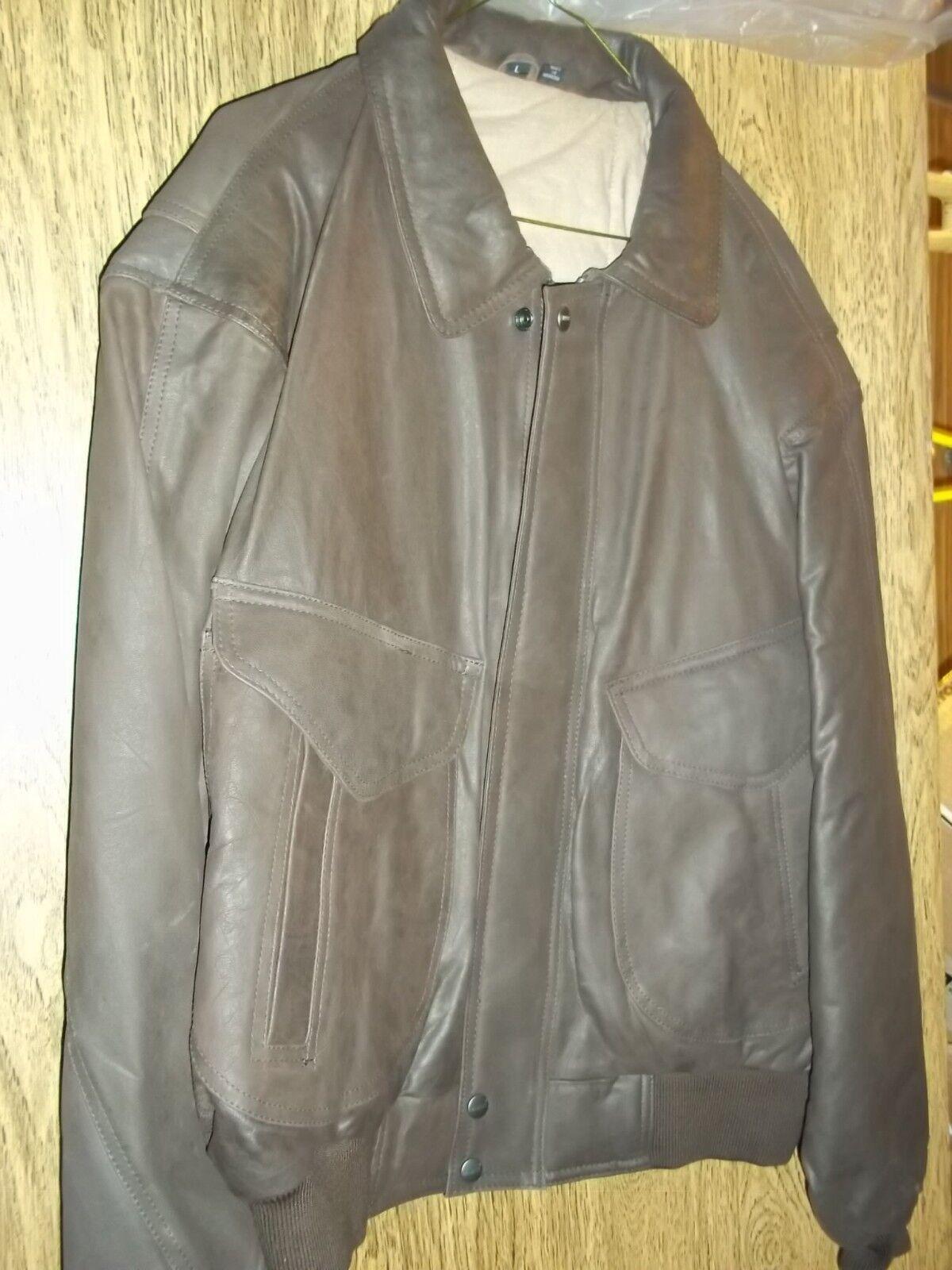 Nueva chaqueta  de bombardero de cuero marrón de hombre de talla L  Sin impuestos