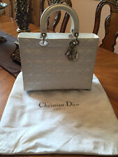 1000% Authentic $4,600 Christian Dior WHITE LARGE LADY DIOR Lambskin Handbag!!!!