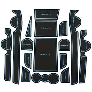 16pcs Blue Interior Gate Slot Mat Cup Holder Pad Rubber