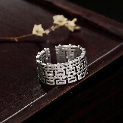 Analytisch F02 Ring Silber 925 Chinesisches Glückssymbol Größenverstellbar Moderater Preis