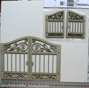 CHIPBOARD-Cut-Out-Die-Cuts-GATES-x-2-Sizes-2-pieces-each-pk-Scrap-FX-Choice-G