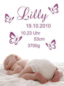 Wandtattoo-Aufkleber-Baby-Wunschname-Daten-Geburt-Datum-Schmetterlinge-Blumen-48