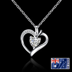 New-925-Sterling-Silver-Filled-Crystal-Love-Heart-Pendant-Necklace-Chain-Jewelry