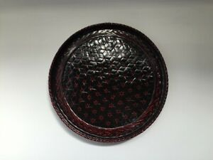 Japanese-Bamboo-Sencha-Obon-Tray-Vtg-Rantai-Lacquer-Ware-Tea-Cup-Carry-R140