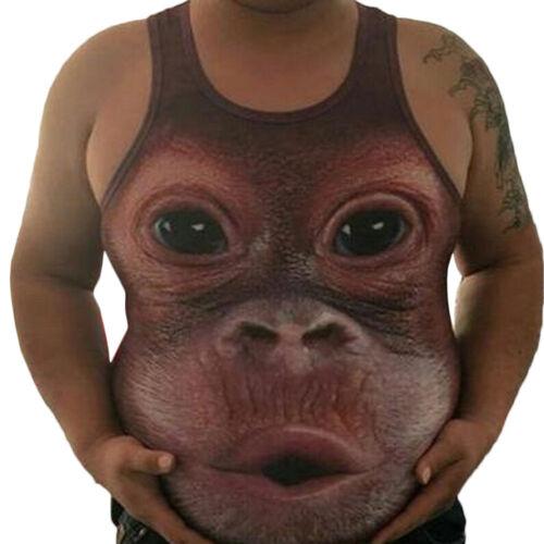 Mens Funny Gorilla Monkey 3D Print Sleeveless Tank Top Vest Muscle T-Shirts #CA