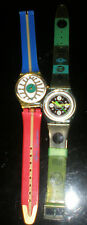 SWATCH WATCHES COLLECTION OF 2 VINTAGE 1980S? WATCHES W/ ORIGINAL SWATCH BAND