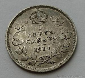 1914-Canada-5-Cent-925-Silver-Coin
