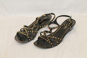 bd1637ec6b58 Prada Black Patent Leather Gold Tone Studded Flat Sandals Womens 7.5 ...