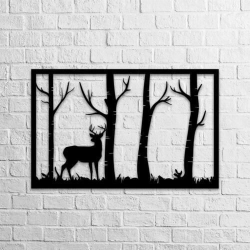 Metalwork Wallart Metal Decor Room Deer /& Forest Metal Decor Lasercut Metal