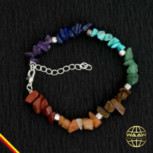Naturstein Armband handgefertigt 7 Hauptchakren Chakra Yoga Karabinerverschluß