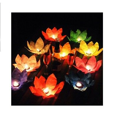 100 X 25cm Lotus Flower Floating Paper Lantern Chinese Candle Water